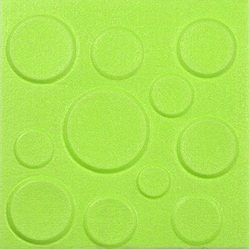 QHJ Aufkleber, Neue PE Schaum 3D DIY Wandaufkleber Dekor Geprägte Backstein Stein Grün 3D PE Schaum Stereo Selbstklebende Wandaufkleber 30 * 30 Apfelgrün