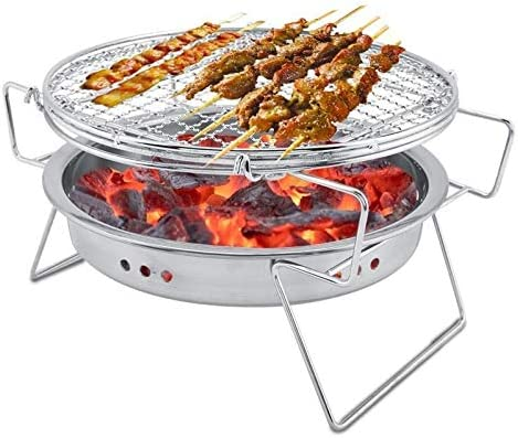 HCHD Acier Inoxydable Barbecue Grill Portable Rond Barbecue Poêle Mini BBQ Rack Machine pour Camping en Plein Air Outil De Pique-Nique avec BBQ Net (Color As picture