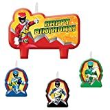 Amscan Power Rangers Dino Charge Birthday Party Molded Candle Set (4 Piece), Red/Black/Green/Blue