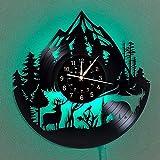 WERWN Reloj de Vinilo con grabación de Vida Silvestre del Bosque Reloj de Pared Animal Reloj de Pared de decoración del hogar