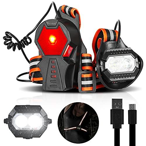 CHIMONA Brust Lauflicht mit Reflektor, 500 Lumen LED Laufen Joggen Wandern Camping Outdoor Licht USB Wiederaufladbar, Wasserdicht Warnweste mit Blinklicht, 90° Einstellbar Lampe zum Angeln