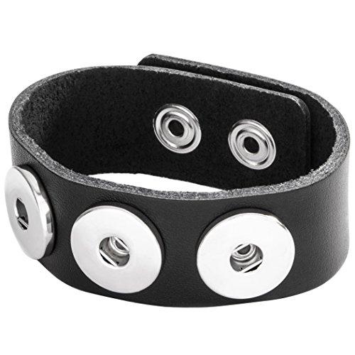 Berydale Damen-Armband Leder 24 cm, schwarz - BD225-200