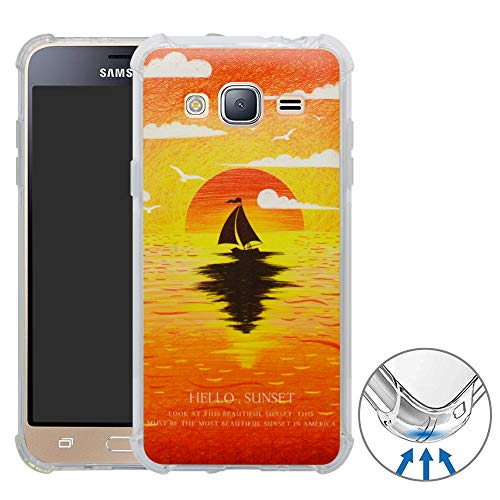 YuChen Galaxy J3 2016 Funda, 3D Dibujos Ultrafina Silicona Gel Suave TPU Bumper Diseño de Protección Caso Cover para Samsung Galaxy J3 2016(Not fit Galaxy J5),Sunset
