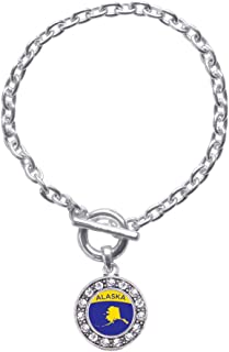 Silver Circle Charm Toggle Bracelet with Cubic Zirconia Jewelry