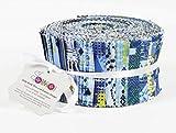 Soimoi 40 Unids Geométrico Y Textura Impresión De Algodón Telas De Telas Para Acolchar Craft Strips 2.5 X 42 Pulgadas Rollo De Jalea - Azul-Zk
