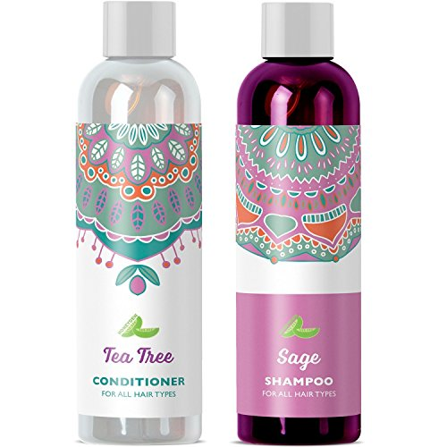 Natural Sulfate Free Dandruff Control Daily Sage Shampoo for Dry Itchy Scalp and Moisturizing Hair Conditioner with Anti-Fungal Tea Tree Rosemary Enhanced by Argan Oil Jojoba and Keratin Strengthener
