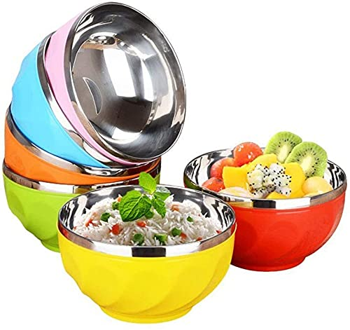 HMY 6-piece steel mixing bowl set, coloration chrome steel nesting bowl, used for kitchen, cooking, storage, baking, salad, meals preparation-dishwasher protected