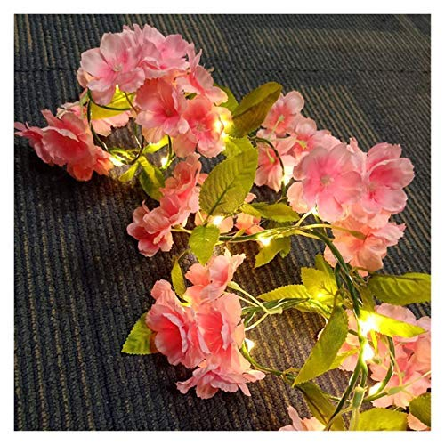 Artificial Hydrangea Flowers Leaf Garland String Lights 20LED With Remote Control Wall Light With Artificial Flower Retro Wall Silk Hydrangea For Loft Kitchen Living Room Decorations