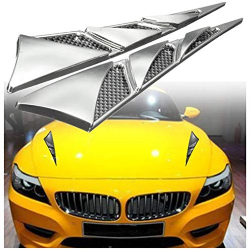 ihreesy 2PCS Car Hood Air Vent Outlet Trim Cover,Universal Exterior Side Scoop Hood Cover Intake Hood Scoop Bonnet Vent Decorative Sticker for Most Cars SUVs,23x4cm,Silver
