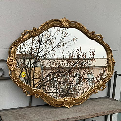 Dekorativer Barock Wandspiegel Gold Oval Spiegel Antik Spiegel Klassik Badspiegel 50x39 Prunk Spiegel c26