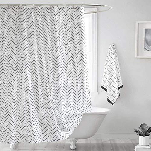 YISHU Welle Duschvorhang Wasserdicht Hochwertige Qualität Anti-Schimmel mit 12 Duschvorhangringe für Badezimmer 240x200cm