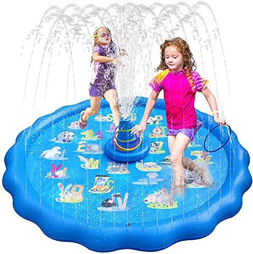 いるか 噴水マット 噴水プール ビーチマット ビニールプール 水遊び 噴水 おもちゃ 子供用 プレイマット 夏の日 芝生遊び 庭