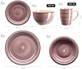 MÄSER 931880 Bel Tempo II, 30-teiliges Vintage Geschirr Set für 6 Personen, handbemaltes Keramik Kombiservice in der Farbe Berry, Steingut - 2