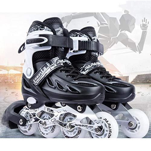 Haojie Verstellbare Inline-Rollenklinge Skate-Schuhe für Mädchen Jungen Sneakers Skates Hockey-Skates Roller für Teenager-Straße Skating,Schwarz,L<38~41>