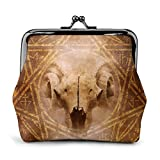 Demon Ritual with a satanic goat-horned ram skull Girls Wallet Leather Buckle Coin Purses Funny Kiss-Lock Change Purse