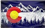 QOR Balance Colorado Flag Mountain Flags Banner,Colorado CO Flags Vintage Mountain Canvas Header Polyester Outdoor Indoor Decor with Brass Grommets 3x5 Ft