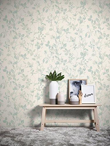 Livingwalls Vliestapete Hygge Tapete floral 10,05 m x 0,53 m creme grau grün Made in Germany 363972 36397-2
