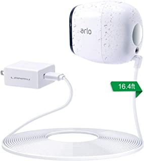 LANMU Weatherproof Outdoor Power Cable for Arlo Pro with Quick Charge 3.0 Power Adapter Compatible with Arlo Pro,Arlo Pro 2,Arlo Go and Arlo Security Light with Wire Clips (16.4ft,Charger and Cord)
