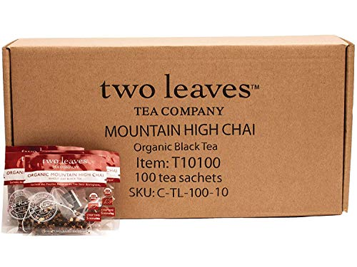 Two Leaves and a Bud Organic Mountain High Chai Black Tea Bags, 100 Count, Organic Whole Leaf Full Caffeine Black Tea in Pyramid Sachet Bags, Delicious Hot or Iced with Milk, Sugar, Honey or Plain
