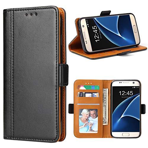 Bozon Galaxy S7 Hülle, Leder Tasche Handyhülle für Samsung Galaxy S7 Schutzhülle Flip Wallet mit Ständer und Kartenfächer/Magnetic Closure (Schwarz)