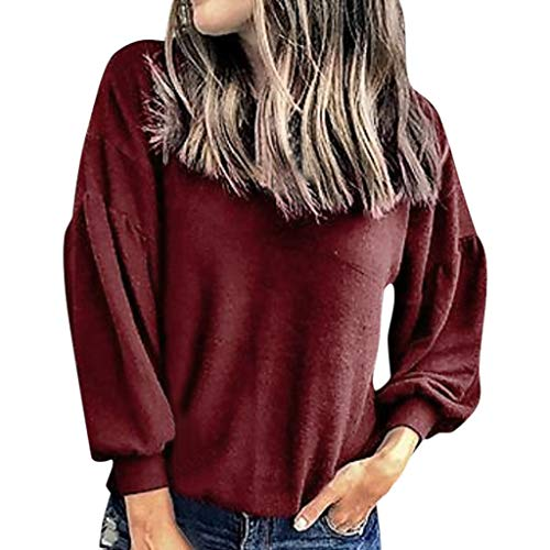 Fantastic Deal! Women Pullover Sweatshirt Crewneck Solid Puff Sleeve T Shirt Casual Fall Blouse Top