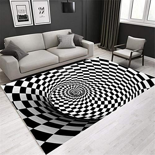 Hete-supply - Alfombra 3D con ilusión óptica, color blanco y negro