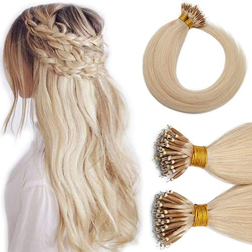 Nano Tip Remy Hair Extensions Nano Ring Human Hair Extensions Cold Fushion Tipped Real Hair Micro Beads Links Hairpiece Full Head Brazilian Hair For Women 18inch 50g/PACK 50 Strands #60 Blonde