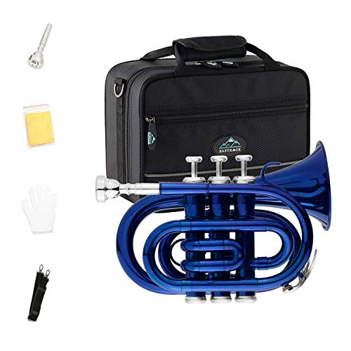 EastRock Pocket Trumpet Blue Lacquer Brass Bb Pocket Trumpet for Beginners,Students or Intermediate with Standard 7C Trumpet Mouthpiece,Hard Case,Valve Oil,Strap,White Gloves&Cleaning Cloth
