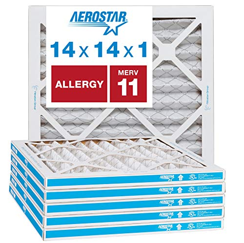 Aerostar Allergen & Pet Dander 14x14x1 MERV 11 Pleated Air Filter, Made in the USA, (Actual Size: 13 3/4x13 3/4x3/4), 6-Pack