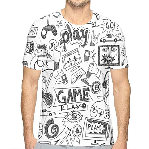 Mens 3D Printed T Shirts,Monochrome Sketch Style Gaming Design Racing Monitor Device Gadget Teen 90s M