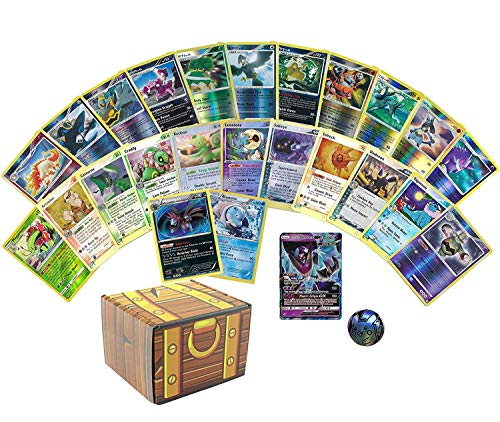 25 Assorted Pokemon Cards - 1 GX Ultra Rare, 2 Holographics, 22 Reverse Holographic Rares, and 1 Assorted Pokemon Coin - Includes Golden Groundhog Storage Treasure Chest