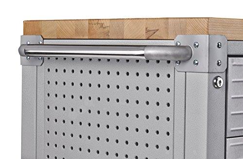 Seville Classics UHD20244 Werkbank mit 4 Schubladen, Metall pulverbeschichtet, Buche Holzarbeitsplatte, 121,9 x 50,8 x 95,2 cm, grau - 3