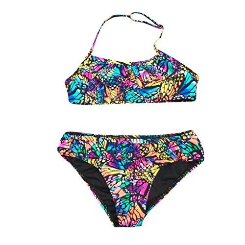 Topgrowth Costumi Bagno Ragazza Bambina Ruched Bikini Set Costumi da Bagno Stampa di Farfalle Swimsuit Costumi Mare Ragazze 7-14 Anni