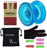 MAGICYOYO Yoyo principiante K1Yoyos receptivo con Yo Yo Pouch Glove 5 Cuerdas Regalo de juguete para 8+ Niños Azul claro