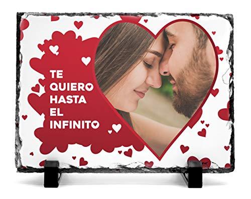 Portafotos pizarra para enamorados personalizados con tu foto | Pizarra especial San Valentín Portafotos 19x14 cm con un diseño enamorados y crea un regalo original y único | Diseño Infinito Corazón