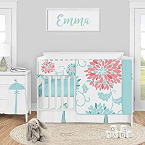 Sweet Jojo Designs Turquoise and Coral Floral Baby Girl Nursery Crib Bedding Set – 5 Pieces – Teal Blue and Pink Emma Flower