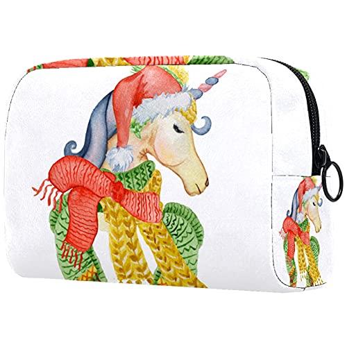 FURINKAZAN Unicornio con sombrero de Navidad bufanda de invierno bolsa de maquillaje para artículos de tocador bolsa de maquillaje bolsa de hombres y mujeres