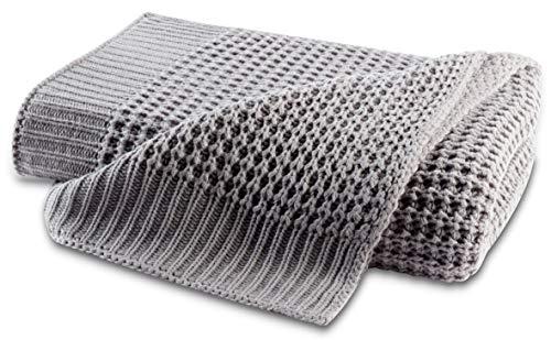 biederlack® hochwertige Kuschel-Decke Strick Grau I Öko-Tex Standard 100 I Plaid in 130x170cm I ideal geeignet als Sofa-Decke oder Wohndecke I Wohnaccessoire I Tagesdecke in top Qualität