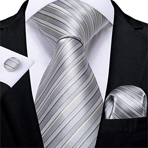 WOXHY Männer Krawatte Silberblau gestreifte Design-Seide Hochzeit Krawatte für Männer Taschentuch Manschettenknopf Krawatte Set Mode Bussiness Party