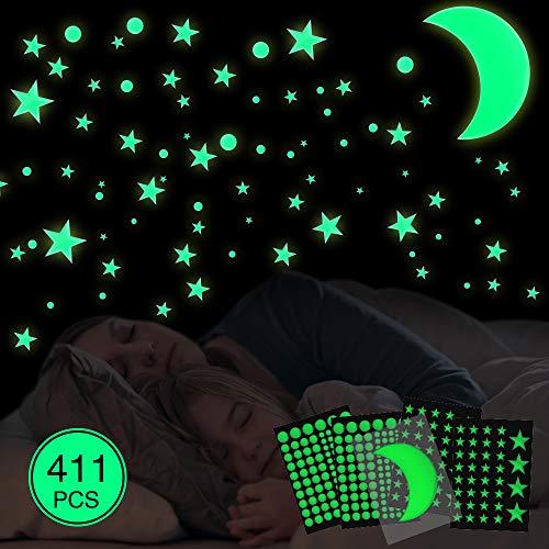 Leuchtsticker Wandtattoo,411Pcs Leuchtaufkleber Kinderzimmer mit Starker Mond Wandsticker und Leuchtpunkte Selbstklebend,Wandsticker DIY für Schlafzimmer Jungen Mädchen Kinderzimmer