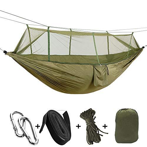 NOBLJX Toile deTente de Camping avec hamac Parachute avec Tamis à Insectes Tente de Camping Ultra légère, Respirante et à séchage Rapide, Poids 200 kg Vert armée, 2 mousquetons et 1 Sac
