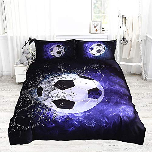 USTIDE Shoot Football Duvet Cover and 2 Pillowcase Bed Set, Double, for Boys Sports Personality Style Design Soft Comfortable Quilt Cover Fashion Breathable Bedding Set