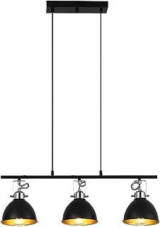 Lámpara Colgante Iluminación Vintage Retro Negro Interior Araña Pendiente De La Luz Que Cuelga Industrial E27 Techo Altura Regulable Sala Estar Para El Comedor Restaurante Café (3 luces)
