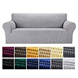 Yucoao Stretch Sofa Slipcovers Couch Covers(77''-85''), 1PC Spandex Sofa Cover Lattice Jacquard Furniture Cover, Washable Furniture Protector for Living Room, Children and Pets, Silver