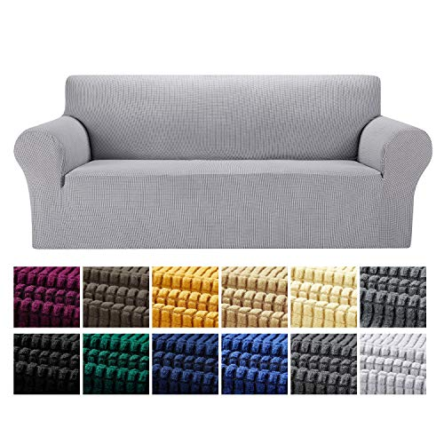 Yucoao Stretch Sofa Slipcovers Couch Covers(77''-85''), 1PC Spandex Sofa Cover Lattice Jacquard Furniture Cover, Washable Furniture Protector for...