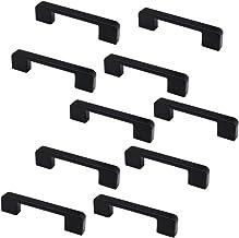 Set van 10 NUZAMAS mat zwart kast deurgrepen en trekt, meubels lade handgrepen, zinklegering, 106 mm lang, keukenkast kled...