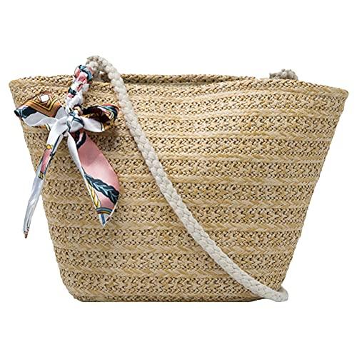 Bolsas de paja, bolso de mano de playa de verano con asa tejida para mujeres y niñas, Hombre, marrón claro, Talla única