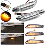 MKptopia 2 piezas marcador lateral dinámico Led, indicador de luz intermitente lámpara intermitente lámpara de señal para BMW BMW E82 E88 E90 E91 E92 E93 E60 E61 E84-Blanco cristal