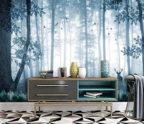 Blue Elk Forest Wallpaper 3D Non-Woven Wallpaper Modern Wall Pictures Wall Decoration Custom 3D Wallpaper Paste Living Room The Wall for bedroom-350cm×256cm
