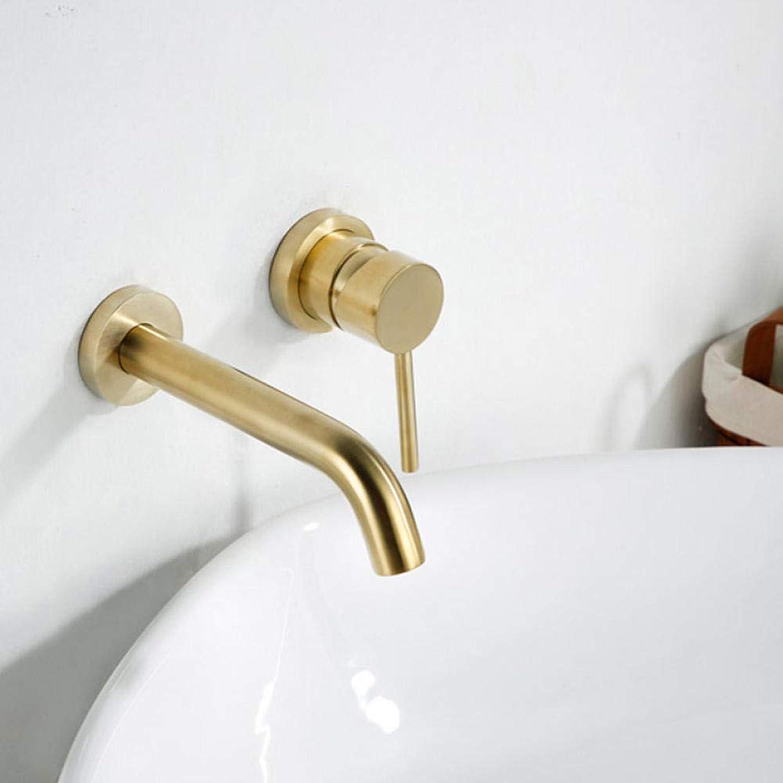 Waschtischarmaturen Wandmontage Messing Waschbecken Waschtischmischer Wasserhahn MattGold Wasserhahn Einhand-Badarmaturen
